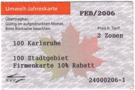 Monatskarte Karlsruhe